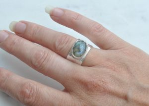 Iridescent Dreaming - One off, limited edition designs. By Clare Quinlan. Labarodite in Sterling Silver - Zambezi Ring