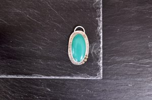 Green onyx, sterling silver and brass